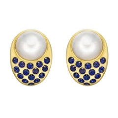 """Peggy Guinness Mabe Pearl and Sapphire """"Coco"""" Earrings"""