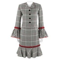 PEGGY JENNINGS Couture Houndstooth Ruby Red Trim Trumpet Skirt Jacket Dress Suit
