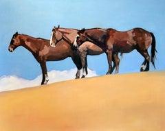 Sunbathers (horses, sand, blue sky)