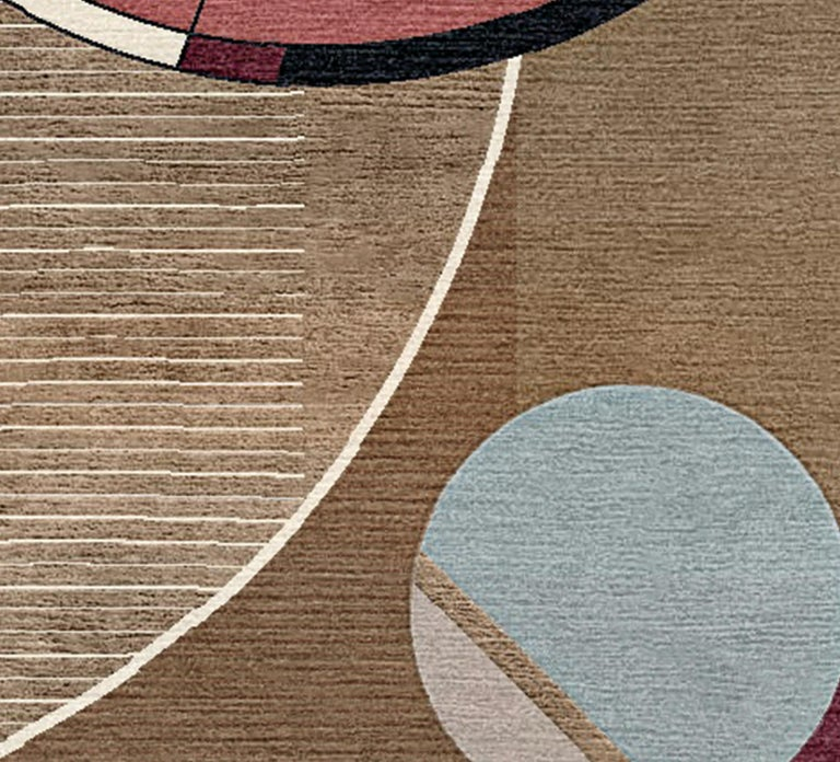 Art Nouveau Peggy, Meet Max Hand-Tufted Wool and Viscose Rug For Sale