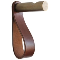 Peggy Notched Coat Hook of Bronze and Leather