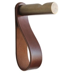 Peggy Notched Coat Peg of Bronze & Leather