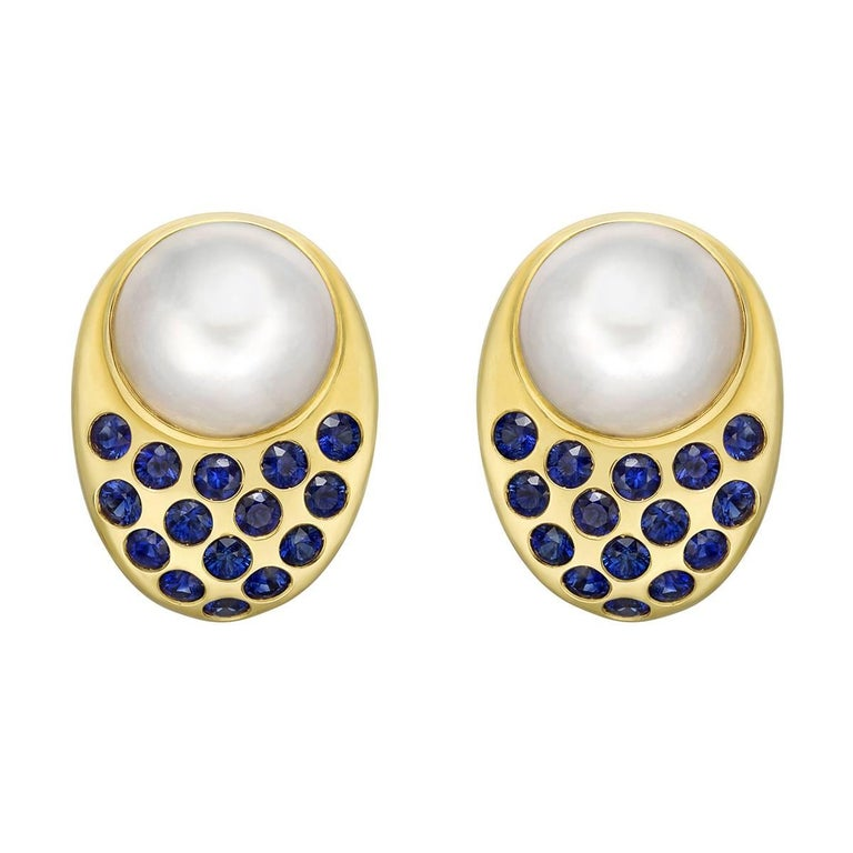 "Peggy Stephaich Guinness Mabe Pearl and Sapphire ""Coco"" Earrings"