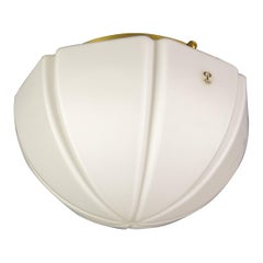Peill and Putzler Pearl White Glass and Brass Flush Mount Ceiling Light, 1970s