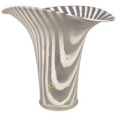 Peill and Putzler White Striped Glass Vase, 1970s