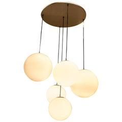 Peill & Putzler 1960s White Glass Globes and Steel German Chandelier