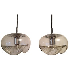 Peill & Putzler Clear Glass and Chrome Pendants from 1970s, Germany