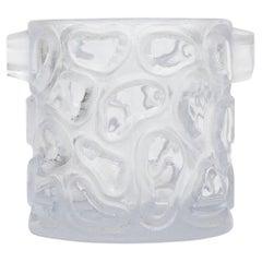 Peill & Putzler Clear Incised Circle Glass Ice Bucket / Vessel Vintage Barware