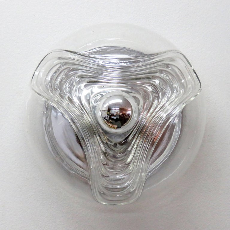 Timeless, molded clear glass flushmount lights by Peill & Putzler Germany, wall or ceiling mounted, available sizes 13