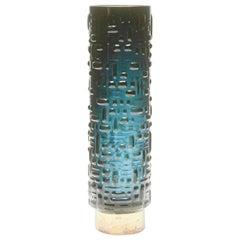 Emil Funke for Gral-Glashütte Vase with Base of Solid German Silver, Stamped 800
