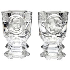 Peill & Putzler, Goblets White Face of Schiller and Goethe Germany, 1960s