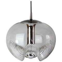 Peill & Putzler Large 1970s Chrome and Clear Glass Biomorphic Pendant Light