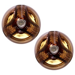 Peill & Putzler Large Pair of 1970s Smoked Glass Biomorphic Wall Sconces Lights