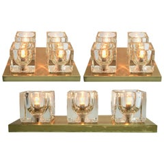 Peill & Putzler, Midcentury Set of 3 Modernist German Glass Cube Wall Sconces