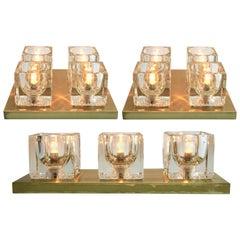 Peill & Putzler, Midcentury Set of 3 Modernist German Glass Cube Wall Sconces