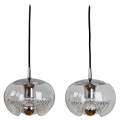 Peill & Putzler Pair of Biomorphic 'Futura' Clear Glass Pendant Lights, 1970s