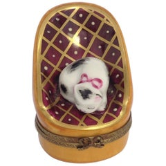 Peint Main Limoges Trinket Box, Cat Sleeping on Chair, Hand Painted