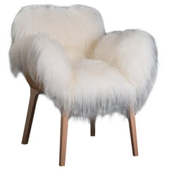 Pekango Fur Lounge Chair, Contemporary French Low Armchair in White Fur