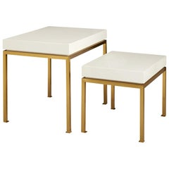 Peking White Lacquer and Brass Nesting Tables