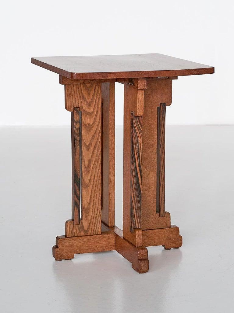 Dutch P.E.L. Izeren Art Deco Side Table in Oak and Macassar, Genneper Molen, 1930 For Sale