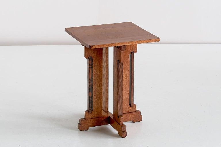 Wood P.E.L. Izeren Art Deco Side Table in Oak and Macassar, Genneper Molen, 1930 For Sale