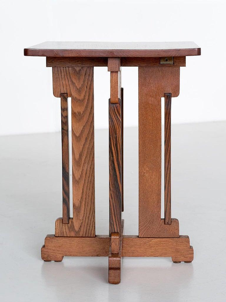 P.E.L. Izeren Art Deco Side Table in Oak and Macassar, Genneper Molen, 1930 For Sale 1