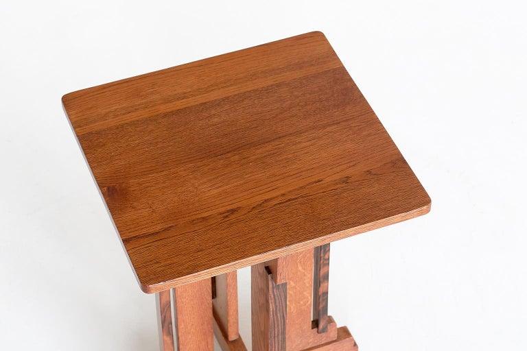 P.E.L. Izeren Art Deco Side Table in Oak and Macassar, Genneper Molen, 1930 For Sale 2