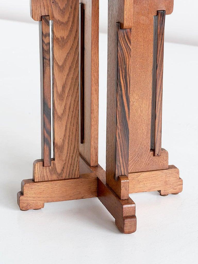 P.E.L. Izeren Art Deco Side Table in Oak and Macassar, Genneper Molen, 1930 For Sale 3