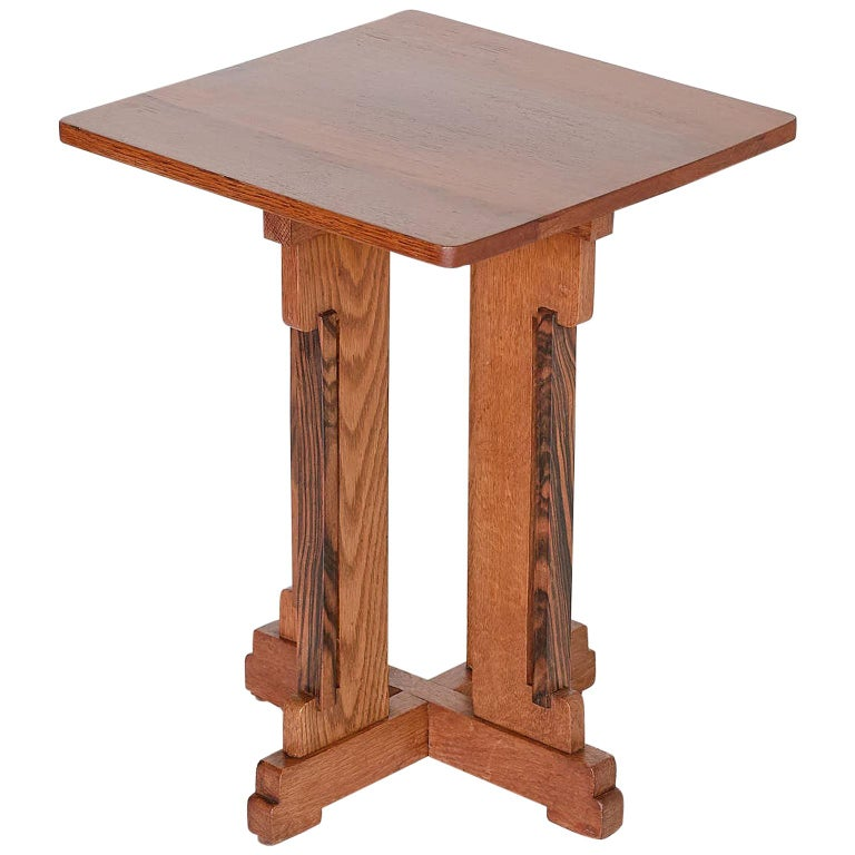 P.E.L. Izeren Art Deco Side Table in Oak and Macassar, Genneper Molen, 1930 For Sale