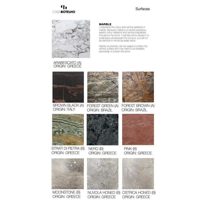 Pelios Bedside Table in Wood Veneer, Marble Surface and Metal Legs For Sale 5