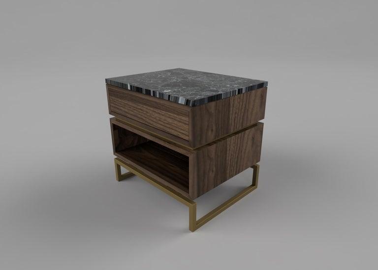 Modern Pelios Bedside Table in Wood Veneer, Marble Surface and Metal Legs For Sale