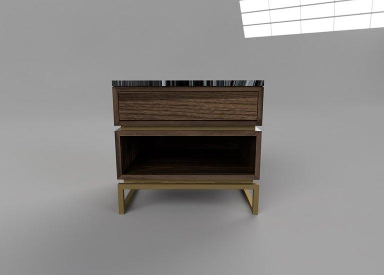 British Pelios Bedside Table in Wood Veneer, Marble Surface and Metal Legs For Sale
