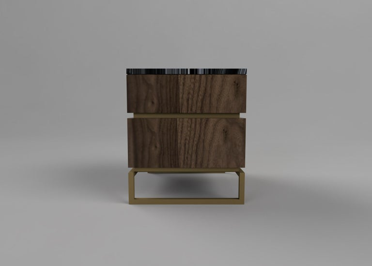 Pelios Bedside Table in Wood Veneer, Marble Surface and Metal Legs In New Condition For Sale In London, GB