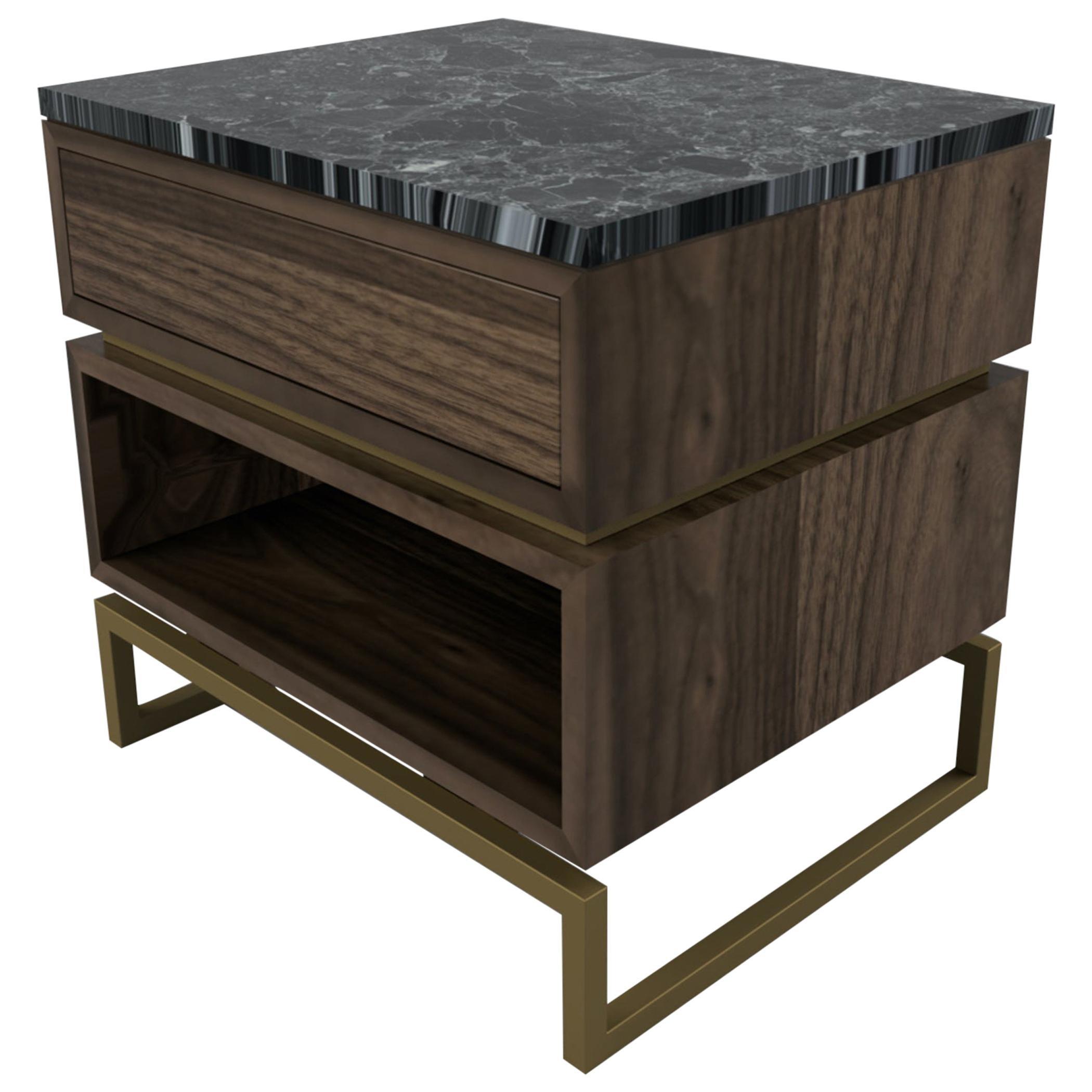 Pelios Bedside Table in Wood Veneer, Marble Surface and Metal Legs