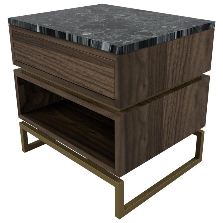 Pelios Bedside Table in Wood Veneer, Marble Surface and Metal Legs For Sale