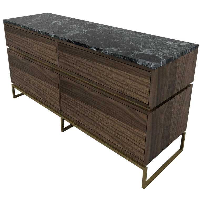 Pelios Chest of Drawers in Wood Veneer, Marble Surface and Brass Tint legs For Sale