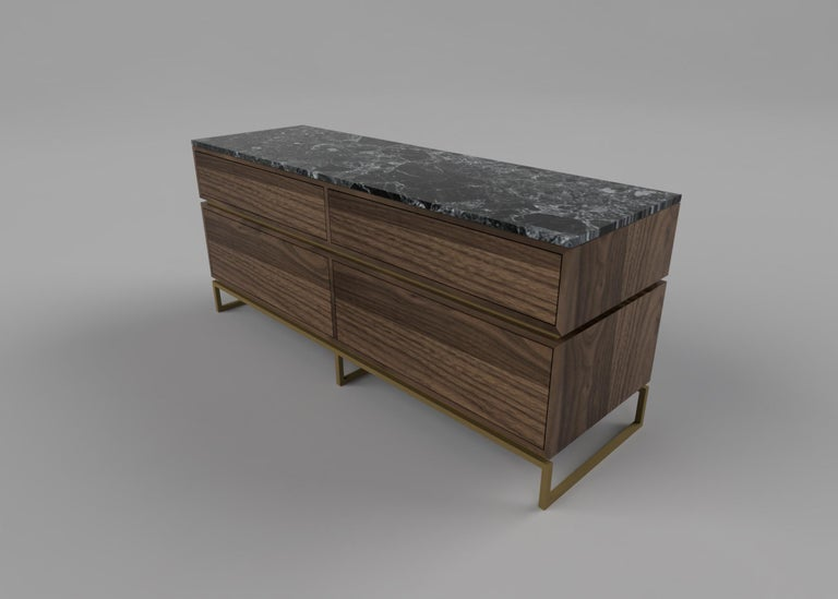 Pelios chest of drawers A perfect pair to the Pelios bedside table, the pelios chest of drawerexudes the same seductive, glamorous aesthetic. Designed with sleekly-architectural lines, brass trimming detailing, luxe surfaces and multiple storage