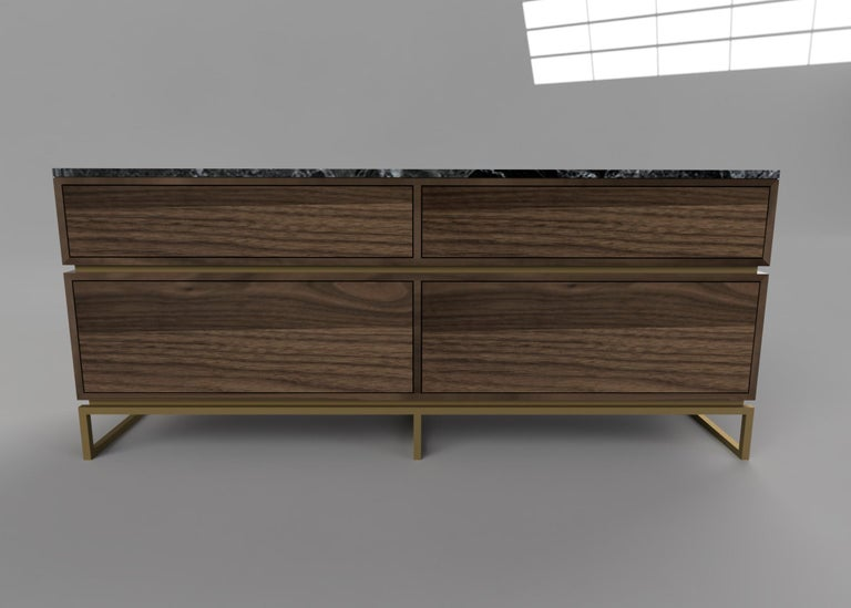 Modern Pelios Chest of Drawers in Wood Veneer, Marble Surface and Brass Tint legs For Sale
