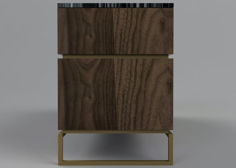 British Pelios Chest of Drawers in Wood Veneer, Marble Surface and Brass Tint legs For Sale