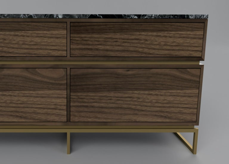 Pelios Chest of Drawers in Wood Veneer, Marble Surface and Brass Tint legs In New Condition For Sale In London, GB