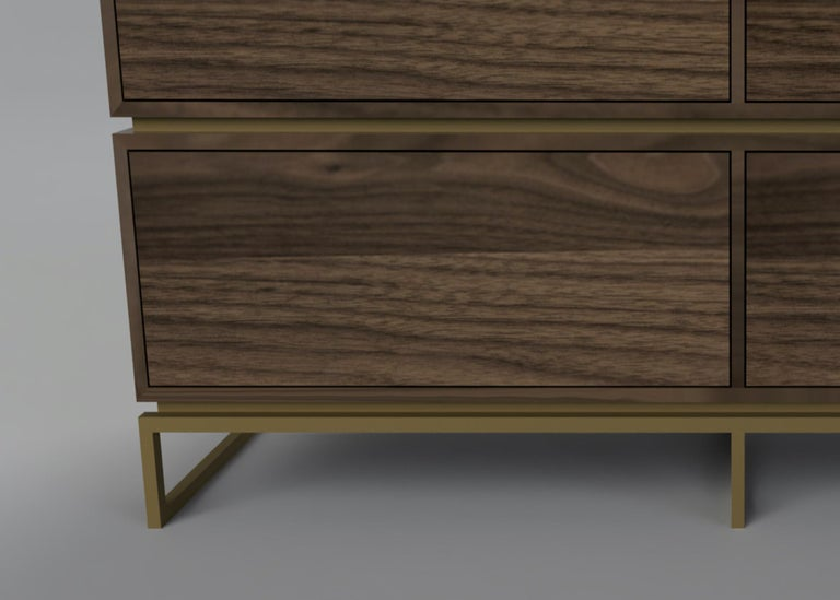 Contemporary Pelios Chest of Drawers in Wood Veneer, Marble Surface and Brass Tint legs For Sale