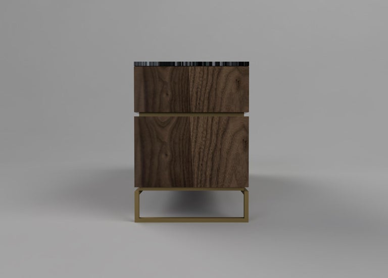 Metal Pelios Chest of Drawers in Wood Veneer, Marble Surface and Brass Tint legs For Sale