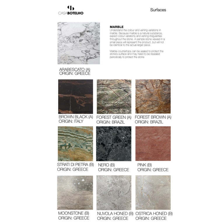Bespoke Pelios Console Table in Wood Veneer, Marble Surface and Metal Legs For Sale 7