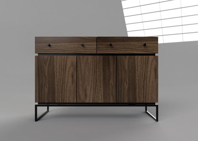 Modern Bespoke Pelios Console Table in Wood Veneer, Marble Surface and Metal Legs For Sale