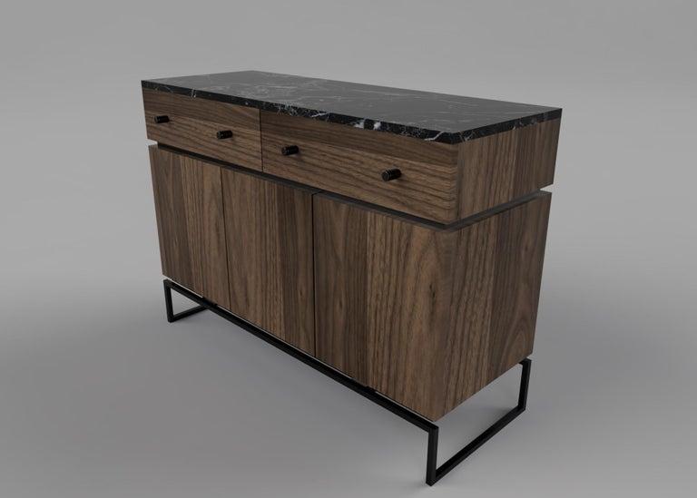 British Bespoke Pelios Console Table in Wood Veneer, Marble Surface and Metal Legs For Sale