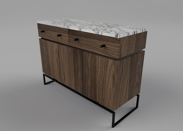 Bespoke Pelios Console Table in Wood Veneer, Marble Surface and Metal Legs In New Condition For Sale In London, GB