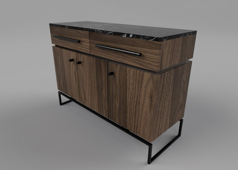 Contemporary Bespoke Pelios Console Table in Wood Veneer, Marble Surface and Metal Legs For Sale