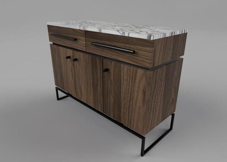 Bespoke Pelios Console Table in Wood Veneer, Marble Surface and Metal Legs For Sale 1
