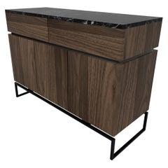 Bespoke Pelios Console Table in Wood Veneer, Marble Surface and Metal Legs