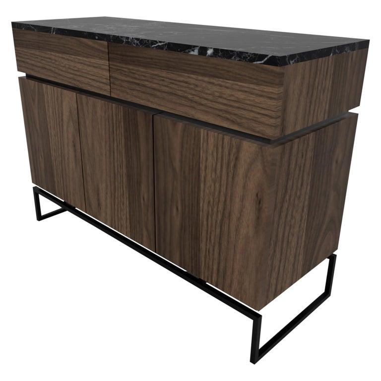 Bespoke Pelios Console Table in Wood Veneer, Marble Surface and Metal Legs For Sale